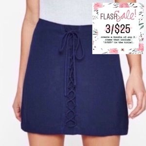 3/$25 NWT! Kendall & Kylie Navy Lace-Up Mini Skirt